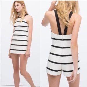 Zara | black & White stripped romper